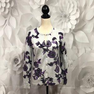 Croft & Barrow Gray/Purple Floral Cardigan XS